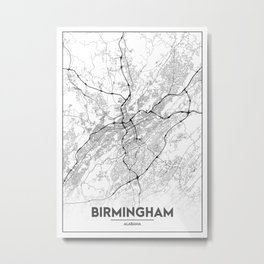 Minimal City Maps - Map Of Birmingham, Alabama, United States Metal Print