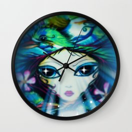 The Girl with Stars in Her Eyes, Original Art by Sheridon Rayment Wall Clock