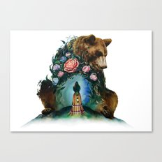 Flower & Bear Canvas Print