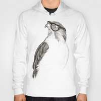 hipster Hoodies featuring Hawk with Poor Eyesight by Phil Jones