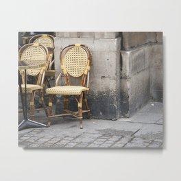 Paris Bistro Chairs Metal Print