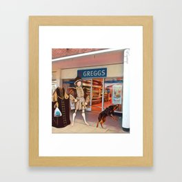 Henry VIII and Anne Boleyn get a steak bake at Greggs with Tommy on tow and Poundland shopping Framed Art Print