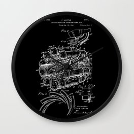 Jet Engine: Frank Whittle Turbojet Engine Patent - White on Black Wall Clock