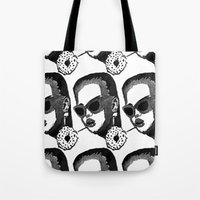 model Tote Bags featuring MODEL  by Happy as Flynn