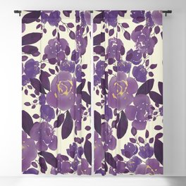 Elegant ivory gold lavender purple watercolor floral  Blackout Curtain