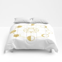 Gold Moon and Sun Phases Comforters