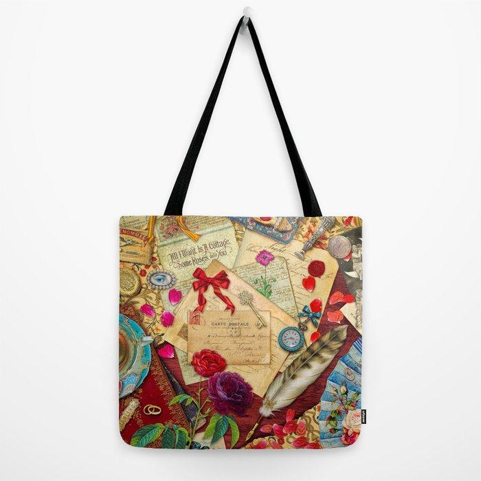 Vintage Love Letters Tote Bag
