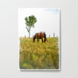 Horse Grazing in the Field.  Watercolor Painting Style. Metal Print