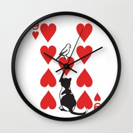 Clipped Wings Deck: The 9 of Hearts Wall Clock