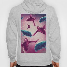 Crazy Funny Space Sloth With Turtle Hoody