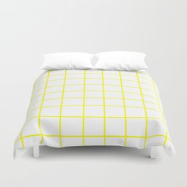 Grid (Yellow/White) Duvet Cover