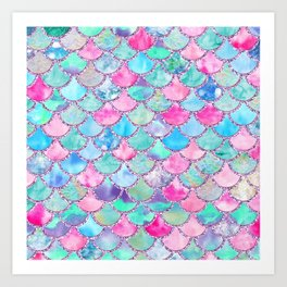 Colorful Pink and Blue Watercolor Trendy Glitter Mermaid Scales Art Print