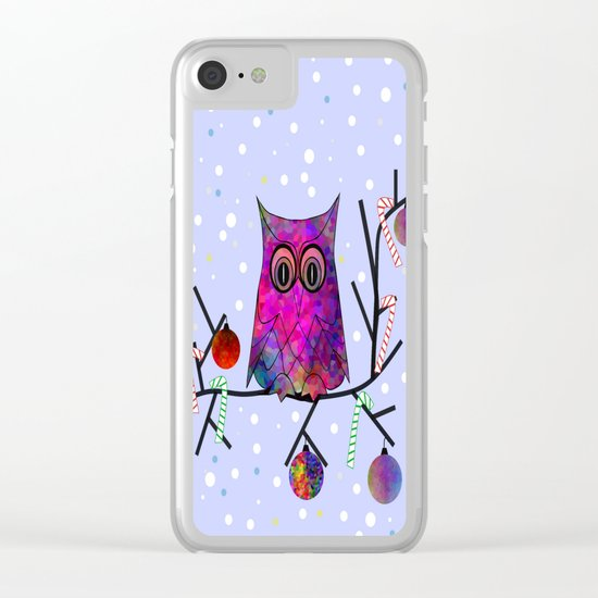 The Festive Owl Clear iPhone Case