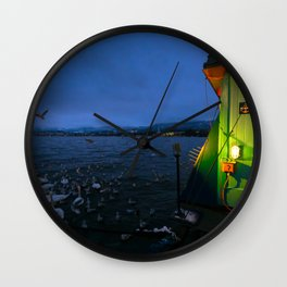 Along Zurich Lake By Night Wall Clock