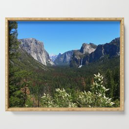 Bridal Veil Falls From Tunnel View Point - Yosemite Valley Serving Tray