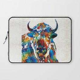 Colorful Buffalo Art - Sacred - By Sharon Cummings Laptop Sleeve