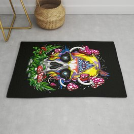 Magic Mushrooms Psychedelic Skull Rug