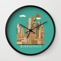 minneapolis Wall Clocks featuring Minneapolis skyline by bri.buckley