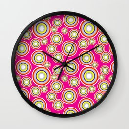 Circles on pink background Wall Clock