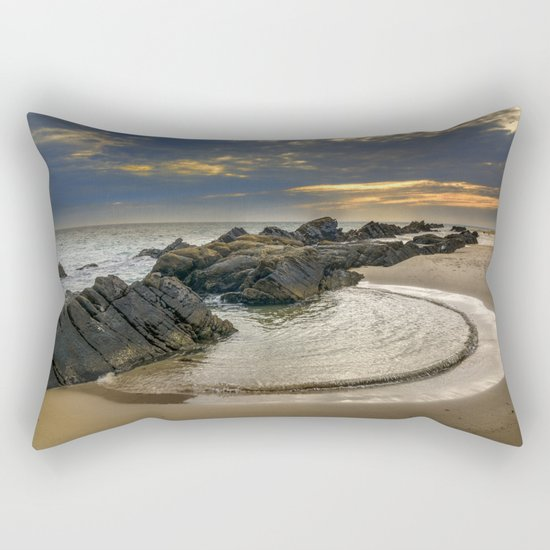 Windy Tarifa beach. Wild swiming pools. Rectangular Pillow