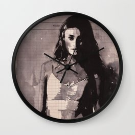 Immagine di donna - ink drawing over vintage book page Wall Clock