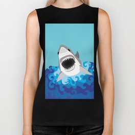 Great White Shark Attack Biker Tank