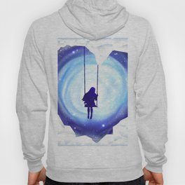 Girl Swinging in a Snow and Ice Heart Tunnel Hoody