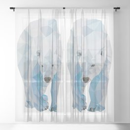 Geometric Polar Bear Sheer Curtain