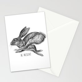 Animal Art | Hare and Quote by Magda Opoka | Animals | Black and White | black-and-white | bw Stationery Cards