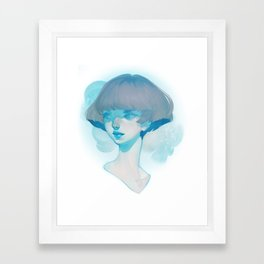 visage - blue Framed Art Print