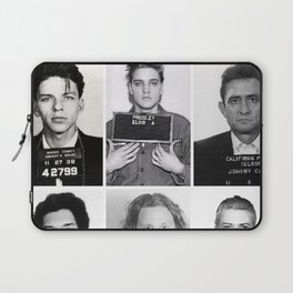 The Usual Suspects - Celebrity Mug Shots, Elvis, Johnny Cash, Jimi Hendrix, Bowie, Jagger, Belushi  Laptop Sleeve