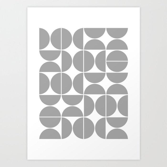 Mid Century Modern Geometric 04 Grey Kunstdrucke