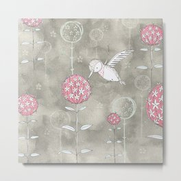 Hummingbird's Garden: Amongst the wild flowers Metal Print