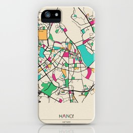 Colorful City Maps: Hanoi, Vietnam iPhone Case