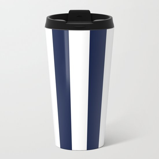 Simply Vertical Stripes in Nautical Navy Blue Metal Travel Mug