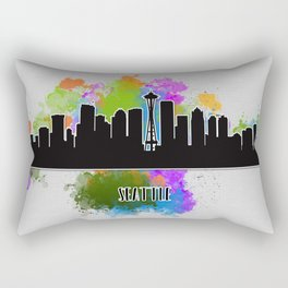 Seattle skyline silhouette Rectangular Pillow
