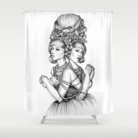 dahlia Shower Curtains featuring Dahlia by April Alayne