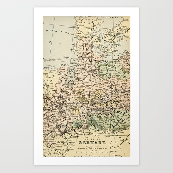 Map Of Germany To Print.Old And Vintage Map Of Germany Outline Art Print By Graphikz