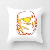 storm trooper Throw Pillows featuring Storm trooper  by luccabanana