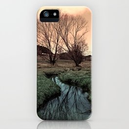 A stream, dry grass, reflections and trees II | waterscape photography iPhone Case