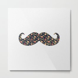 Funny Girly Mustache Pink Vintage Floral Pattern Metal Print
