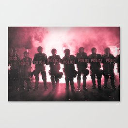 Riot Police Line - Red Cast Canvas Print