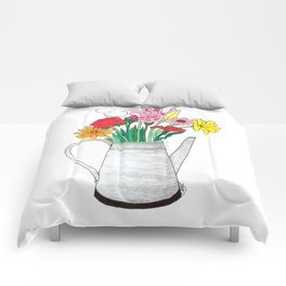 Flowers in a watering can Comforters