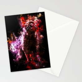 british shorthair cat ready to attack splatter watercolor Stationery Cards