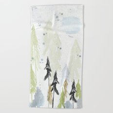 Into the woods woodland scene Beach Towel