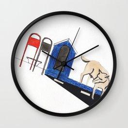 blue dog house Wall Clock