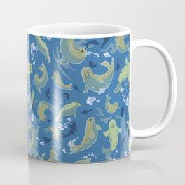 Arctic Playful Seals in Alaska Marine Blue Coffee Mug