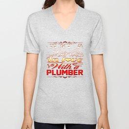 In love with Plumber Unisex V-Neck