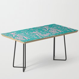 Tiki Temptress in Pink and Turquoise Coffee Table