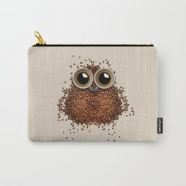 Coffee beans and cups forming owl Carry-All Pouch